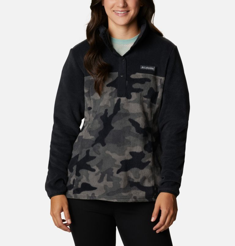 Benton Springs™ Printed 1/2 Snap | 010 | XS Women's Benton Springs™ Printed Half Snap Fleece Pullover, Black Camo, front