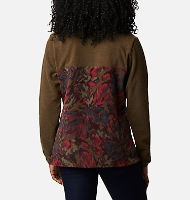 Women's Benton Springs™ Printed Half Snap Fleece Pullover Benton Springs™ Printed 1/2 Snap | 010 | L, Olive Green Leafscape Print, back