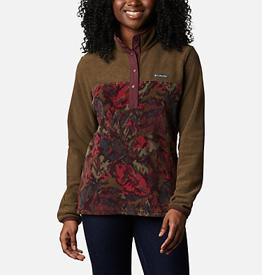 Women's Benton Springs™ Printed Half Snap Fleece Pullover Benton Springs™ Printed 1/2 Snap | 010 | L, Olive Green Leafscape Print, front