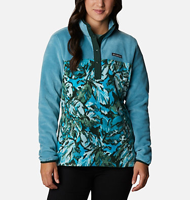 Women's Benton Springs™ Printed Half Snap Fleece Pullover Benton Springs™ Printed 1/2 Snap | 010 | L, Canyon Blue, Spruce Leafscape Print, front
