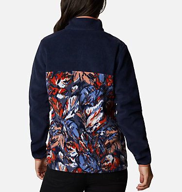 Women's Benton Springs™ Printed Half Snap Fleece Pullover Benton Springs™ Printed 1/2 Snap | 010 | L, Dk Nocturnal, Nova Pink Leafscape Print, back