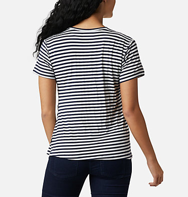 Women's Essential Elements™ Striped Short Sleeve Shirt Essential Elements™ Striped SS Shirt | 472 | L, Dark Nocturnal Stripe, back