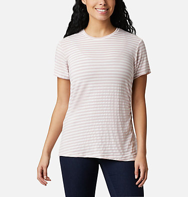 Women's Essential Elements™ Striped Short Sleeve Shirt Essential Elements™ Striped SS Shirt | 472 | L, Mineral Pink Stripe, front