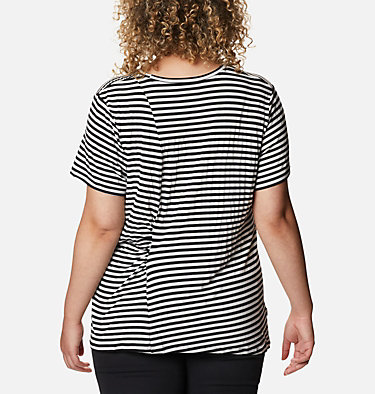 Women's Essential Elements™ Striped Short Sleeve Shirt - Plus Essential Elements™ Striped SS Shirt | 010 | 1X, Black Stripe, back
