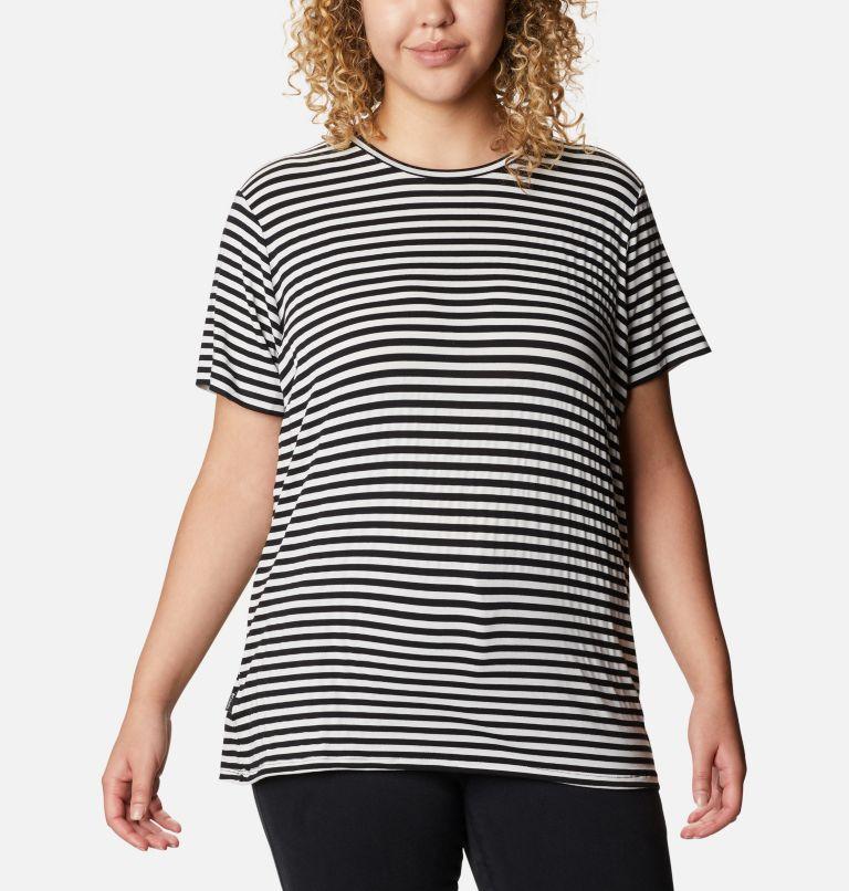 Women's Essential Elements™ Striped Short Sleeve Shirt - Plus Women's Essential Elements™ Striped Short Sleeve Shirt - Plus, front