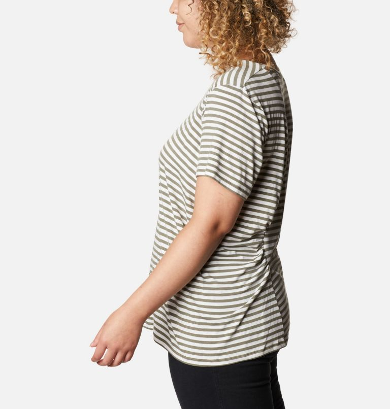 Essential Elements™ Striped SS Shirt | 397 | 2X Women's Essential Elements™ Striped Short Sleeve Shirt - Plus, Stone Green Stripe, a1