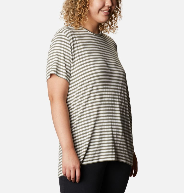 Essential Elements™ Striped SS Shirt | 397 | 2X Women's Essential Elements™ Striped Short Sleeve Shirt - Plus, Stone Green Stripe, a3