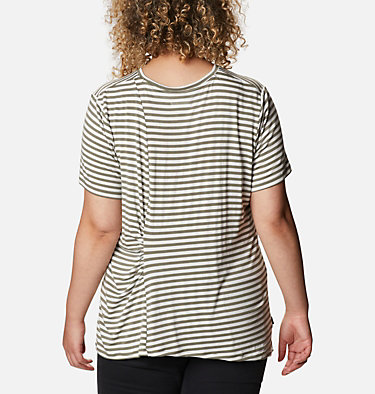 Women's Essential Elements™ Striped Short Sleeve Shirt - Plus Essential Elements™ Striped SS Shirt | 010 | 1X, Stone Green Stripe, back