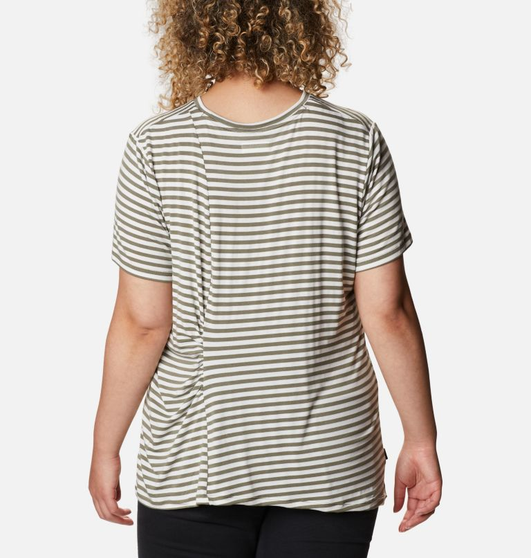 Women's Essential Elements™ Striped Short Sleeve Shirt - Plus Women's Essential Elements™ Striped Short Sleeve Shirt - Plus, back