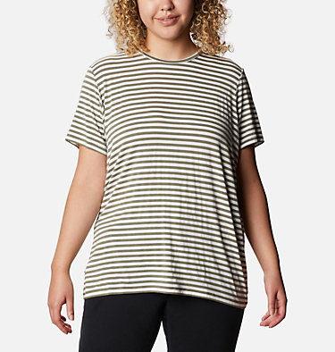 Women's Essential Elements™ Striped Short Sleeve Shirt - Plus Essential Elements™ Striped SS Shirt | 010 | 1X, Stone Green Stripe, front