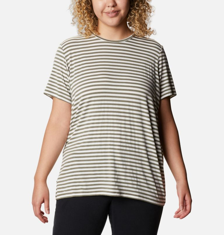Essential Elements™ Striped SS Shirt | 397 | 2X Women's Essential Elements™ Striped Short Sleeve Shirt - Plus, Stone Green Stripe, front