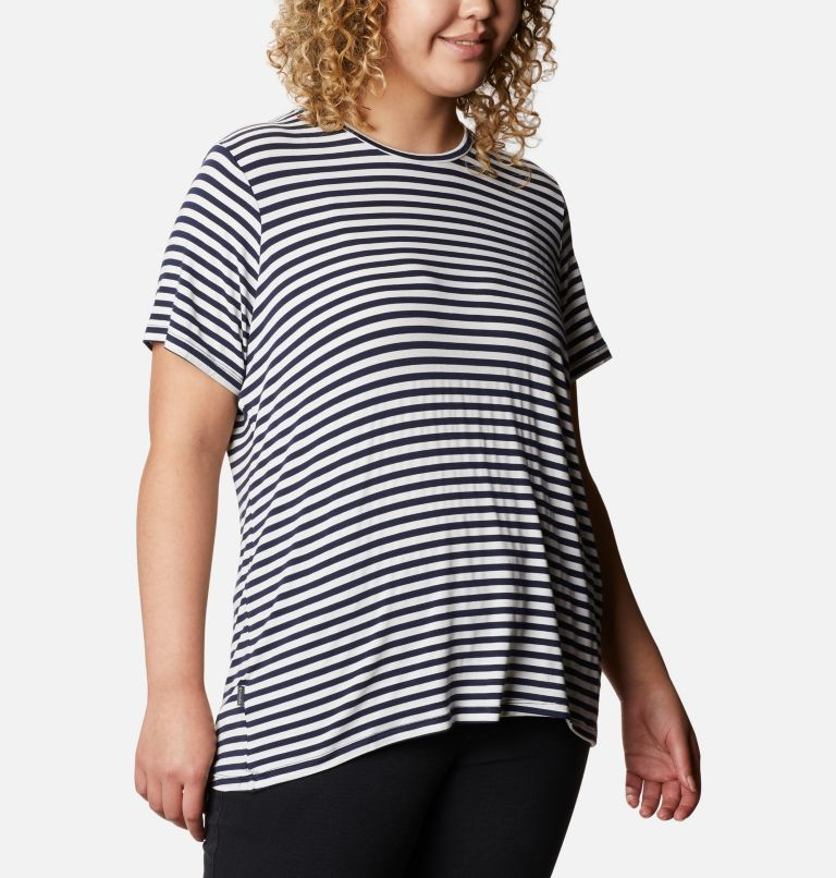Women's Essential Elements™ Striped Short Sleeve Shirt - Plus Women's Essential Elements™ Striped Short Sleeve Shirt - Plus, a3