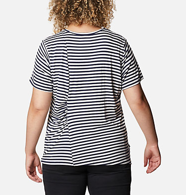 Women's Essential Elements™ Striped Short Sleeve Shirt - Plus Essential Elements™ Striped SS Shirt | 010 | 1X, Dark Nocturnal Stripe, back