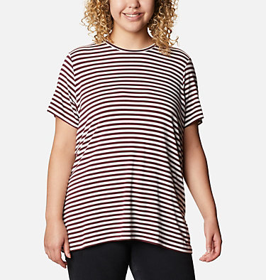 Women's Essential Elements™ Striped Short Sleeve Shirt - Plus Essential Elements™ Striped SS Shirt | 010 | 1X, Malbec Stripe, front