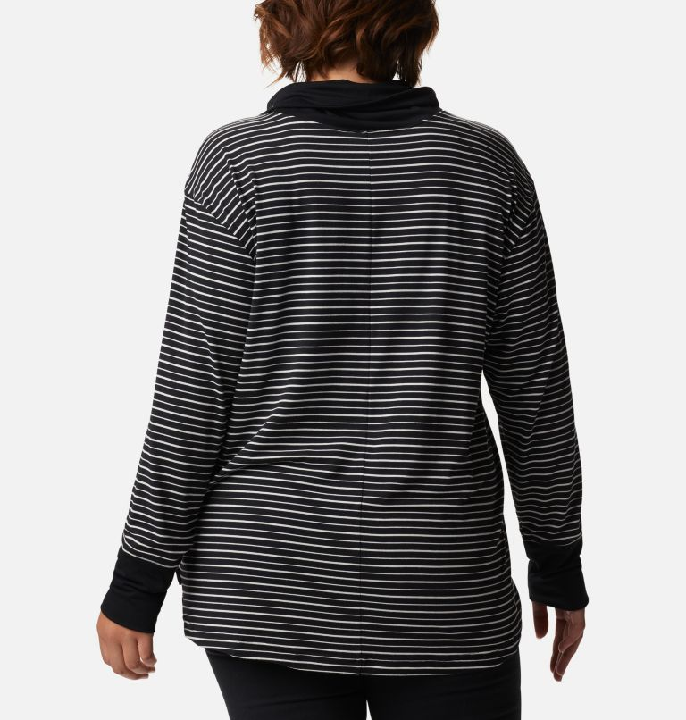 Women's Essential Elements™ Striped Long Sleeve Shirt - Plus Size Women's Essential Elements™ Striped Long Sleeve Shirt - Plus Size, back