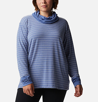 Women's Essential Elements™ Striped Long Sleeve Shirt - Plus Size Essential Elements™ Striped LS Shirt | 010 | 1X, Velvet Cove Stripe, front