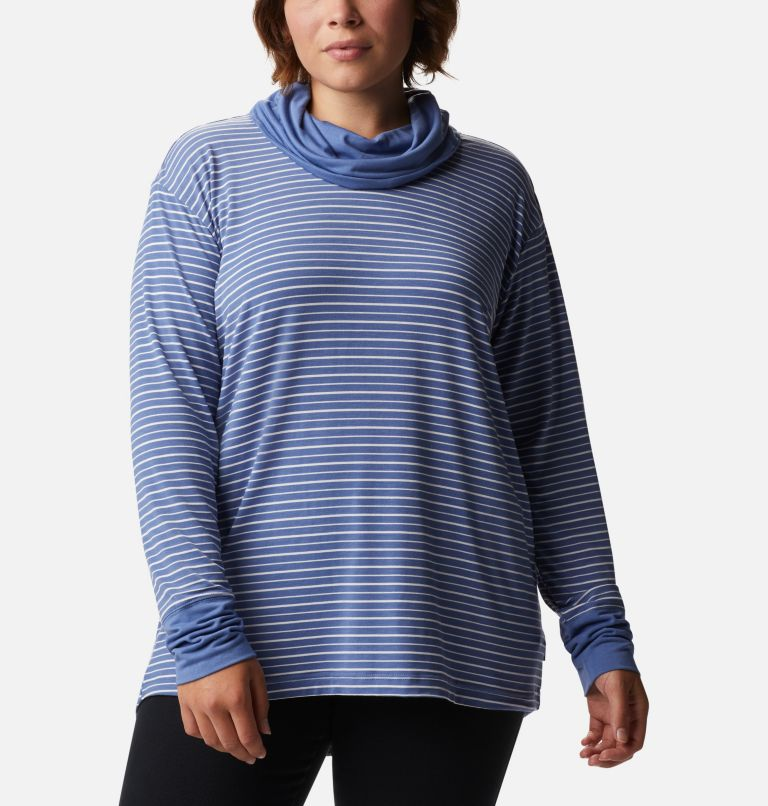 Women's Essential Elements™ Striped Long Sleeve Shirt - Plus Size Women's Essential Elements™ Striped Long Sleeve Shirt - Plus Size, front