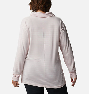 Women's Essential Elements™ Striped Long Sleeve Shirt - Plus Size Essential Elements™ Striped LS Shirt | 010 | 1X, Mineral Pink Stripe, back