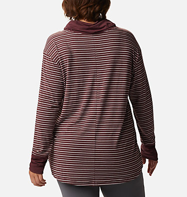 Chandail rayé à manches longues Essential Elements™ pour femme - Grandes tailles Essential Elements™ Striped LS Shirt | 010 | 1X, Malbec Stripe, back
