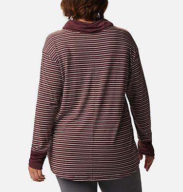Women's Essential Elements™ Striped Long Sleeve Shirt - Plus Size Essential Elements™ Striped LS Shirt | 010 | 1X, Malbec Stripe, back