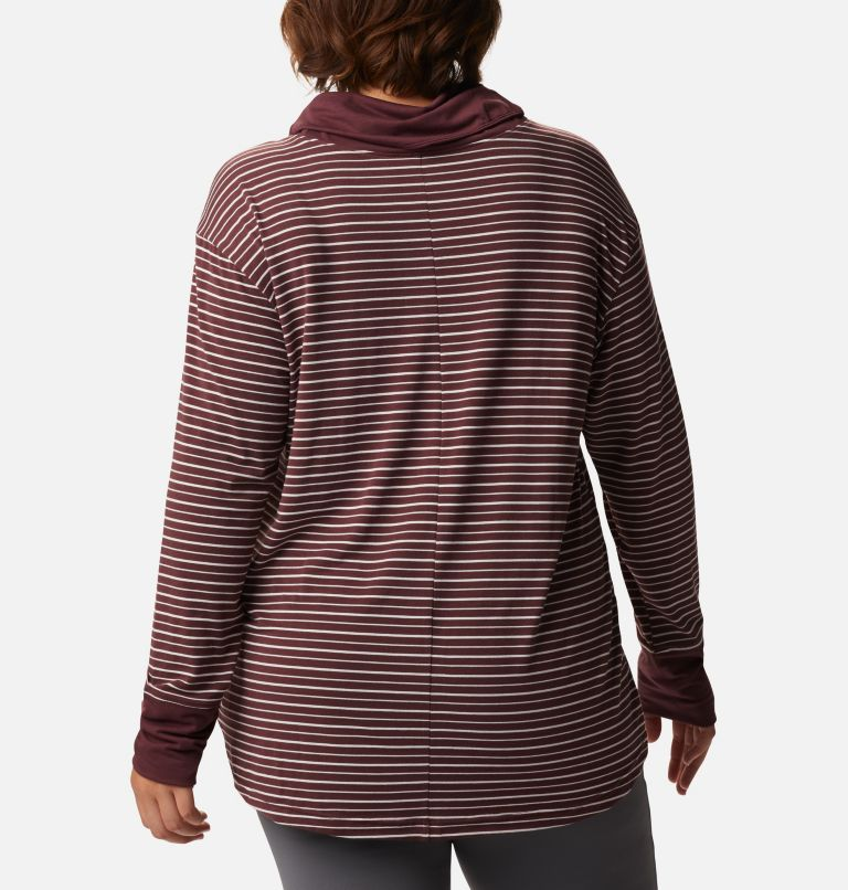 Women's Essential Elements™ Striped Long Sleeve Shirt - Plus Size Women's Essential Elements™ Striped Long Sleeve Shirt - Plus Size, back