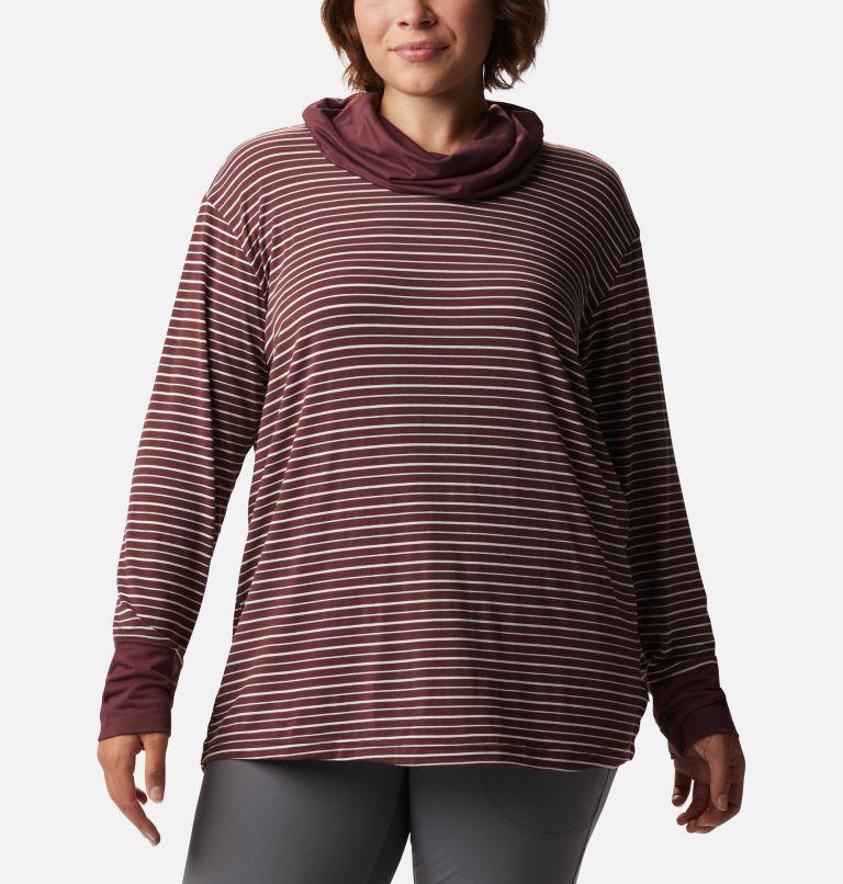 Women's Essential Elements™ Striped Long Sleeve Shirt - Plus Size Women's Essential Elements™ Striped Long Sleeve Shirt - Plus Size, front