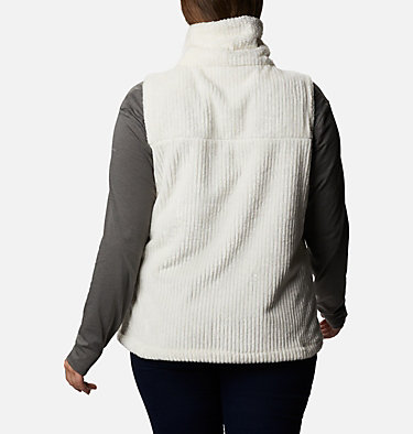 Women's Fire Side™ Sherpa Vest - Plus Size Fire Side™ Sherpa Vest | 397 | 1X, Chalk Stripe, back