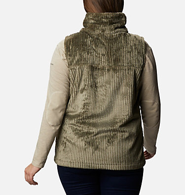 Women's Fire Side™ Sherpa Vest - Plus Size Fire Side™ Sherpa Vest | 397 | 1X, Stone Green Stripe, back