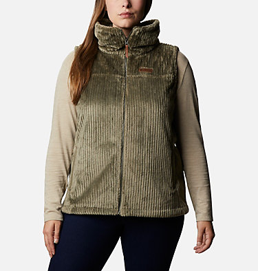 Women's Fire Side™ Sherpa Vest - Plus Size Fire Side™ Sherpa Vest | 397 | 1X, Stone Green Stripe, front