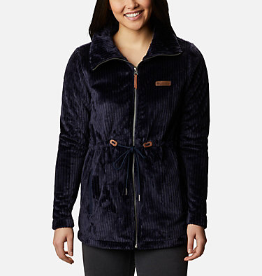Women's Fire Side™ Long Full Zip Sherpa Fleece Jacket Fire Side™ Sherpa Long FZ | 191 | L, Dark Nocturnal Stripe, front