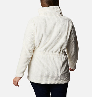 Women's Fire Side™ Long Full Zip Sherpa Fleece Jacket - Plus Size Fire Side™ Sherpa Long FZ | 472 | 1X, Chalk Stripe, back