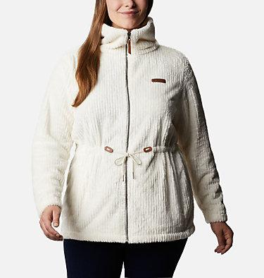 Women's Fire Side™ Long Full Zip Sherpa Fleece Jacket - Plus Size Fire Side™ Sherpa Long FZ | 472 | 1X, Chalk Stripe, front