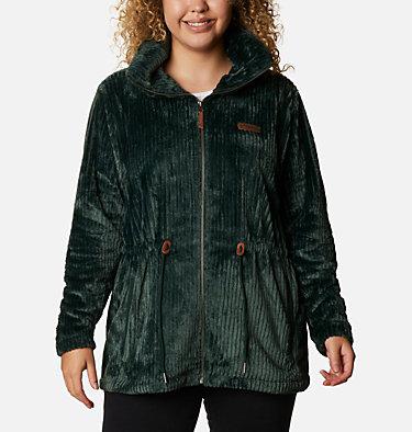 Women's Fire Side™ Long Full Zip Sherpa Fleece Jacket - Plus Size Fire Side™ Sherpa Long FZ | 472 | 1X, Spruce Stripe, front