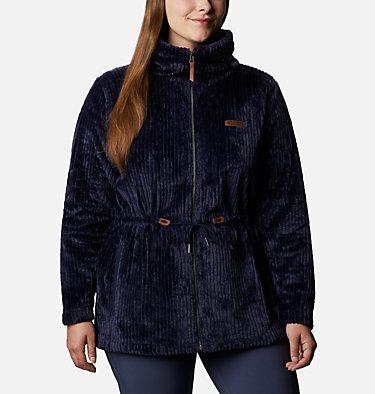 Women's Fire Side™ Long Full Zip Sherpa Fleece Jacket - Plus Size Fire Side™ Sherpa Long FZ | 472 | 1X, Dark Nocturnal Stripe, front