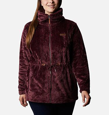 Women's Fire Side™ Long Full Zip Sherpa Fleece Jacket - Plus Size Fire Side™ Sherpa Long FZ | 472 | 1X, Malbec Stripe, front