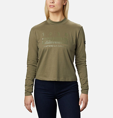 Women's Columbia Lodge™ Mock Neck Shirt Columbia Lodge™ Mock Neck Tee   010   L, Stone Green, front
