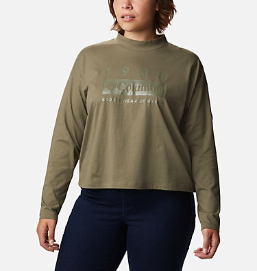 Women's Columbia Lodge™ Mock Neck Shirt - Plus Size Columbia Lodge™ Mock Neck Tee | 397 | 1X, Stone Green, front