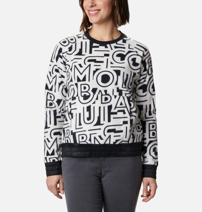 Exploration™ Fleece Crew | 100 | XL Women's Exploration™ Fleece Crew, White Typo Print, front