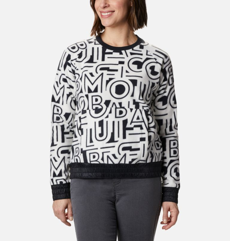 Exploration™ Fleece Crew | 100 | L Haut ras-du-cou en polaire Exploration™ femme, White Typo Print, front