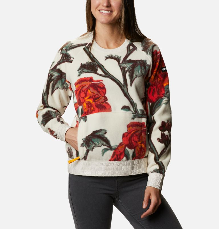 Exploration™ Fleece Crew | 191 | M Women's Exploration™ Fleece Crew, Chalk Botanical Print, front