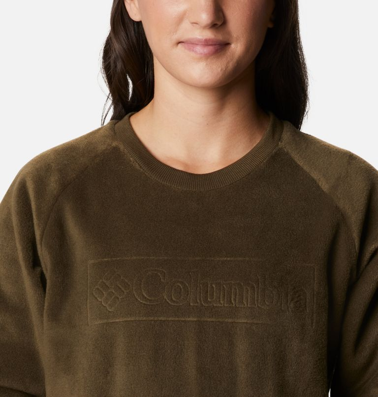 Exploration™ Fleece Crew | 319 | L Pile a girocollo Exploration™ da donna, Olive Green, White Typo Print, a2