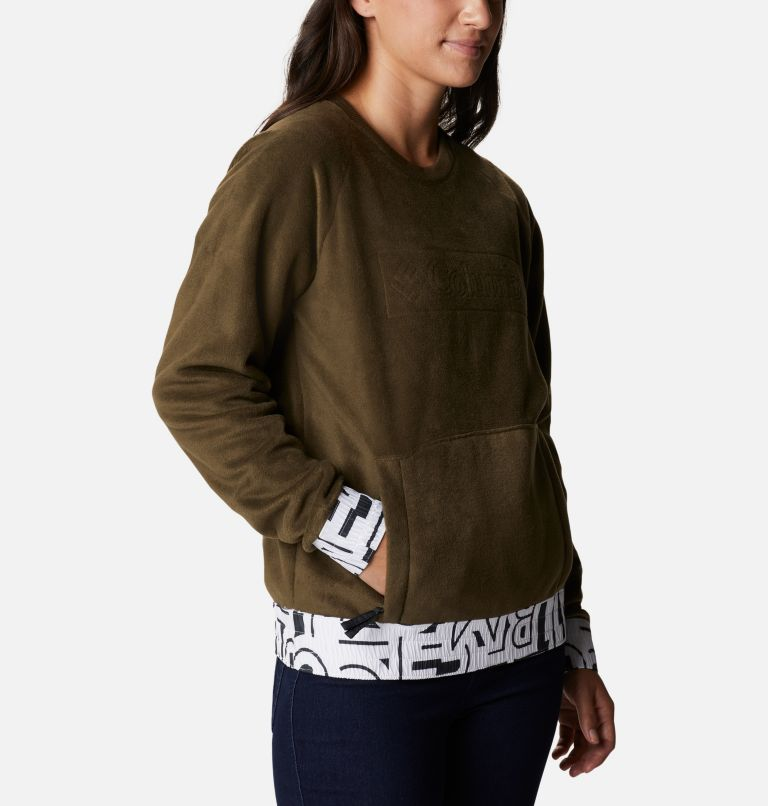 Exploration™ Fleece Crew | 319 | L Pile a girocollo Exploration™ da donna, Olive Green, White Typo Print, a3