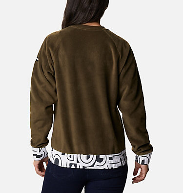 Haut ras-du-cou en polaire Exploration™ femme Exploration™ Fleece Crew | 319 | L, Olive Green, White Typo Print, back
