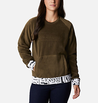 Exploration™ Fleece Crew für Frauen Exploration™ Fleece Crew | 319 | L, Olive Green, White Typo Print, front
