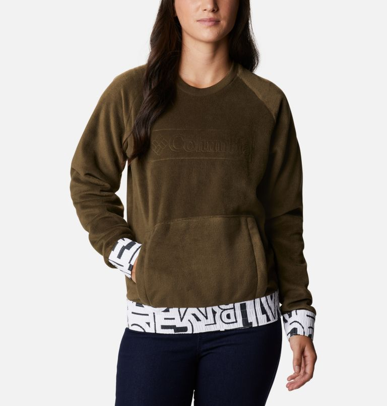 Exploration™ Fleece Crew | 319 | L Pile a girocollo Exploration™ da donna, Olive Green, White Typo Print, front