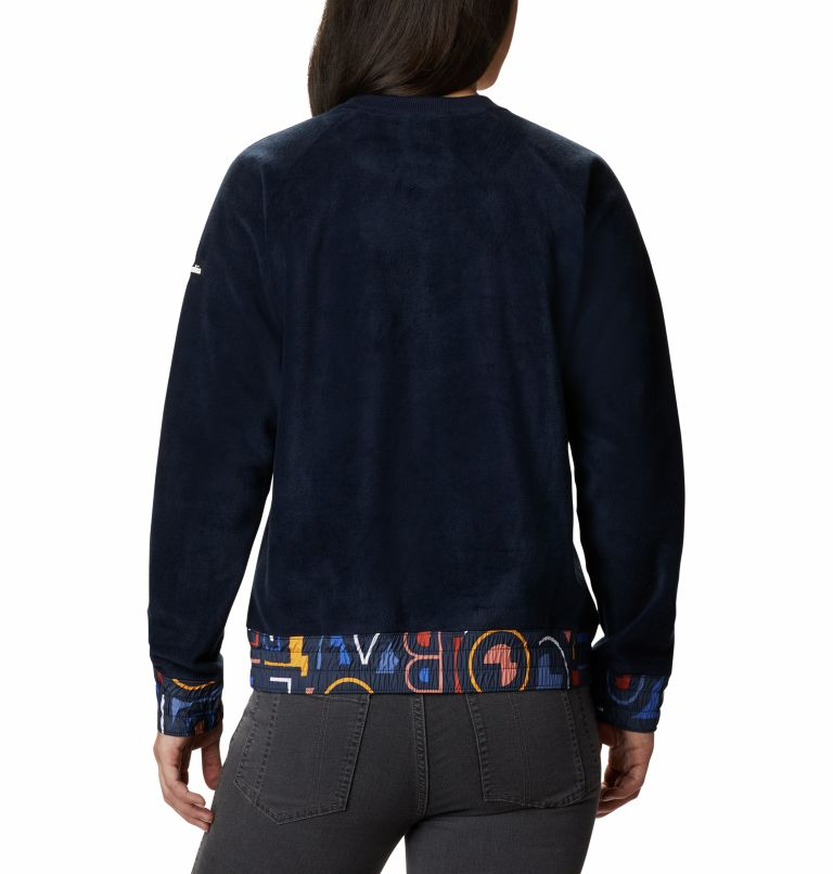 Exploration™ Fleece Crew | 473 | XL Women's Exploration™ Fleece Crew, Dark Nocturnal Multi Typo Print, back