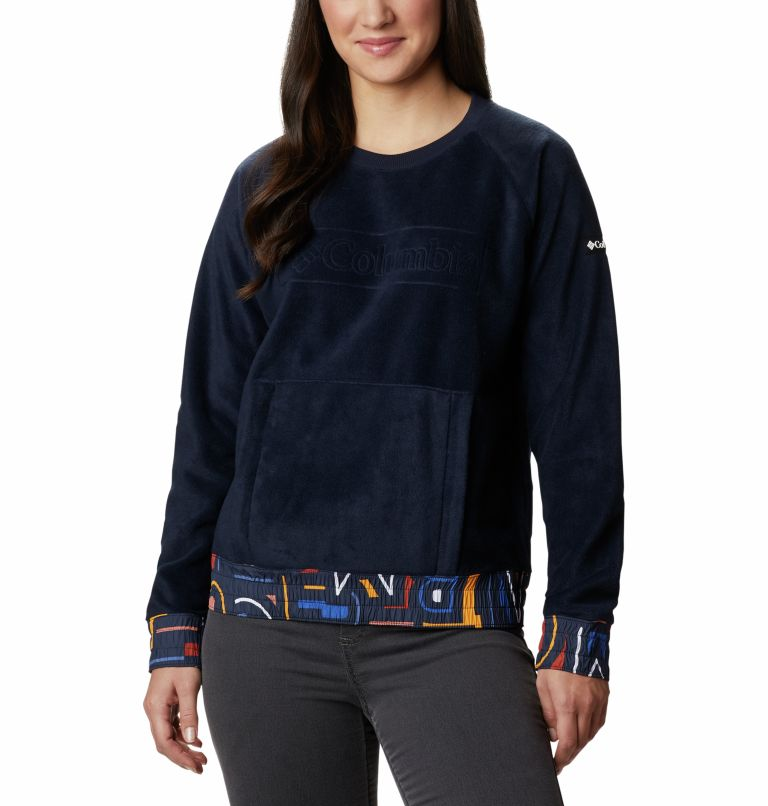 Exploration™ Fleece Crew | 473 | XS Women's Exploration™ Fleece Crew, Dark Nocturnal Multi Typo Print, front