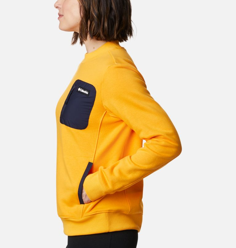 Columbia Lodge™ Pullover | 772 | M Women's Columbia Lodge™ Pullover Sweatshirt, Bright Marigold, Dark Nocturnal, a1
