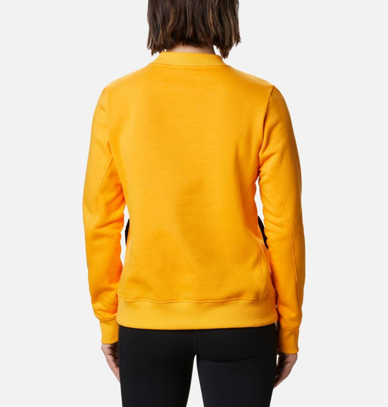 Columbia Lodge™ Pullover | 772 | M Women's Columbia Lodge™ Pullover Sweatshirt, Bright Marigold, Dark Nocturnal, back