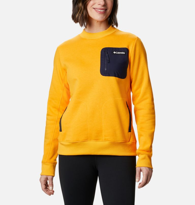 Columbia Lodge™ Pullover | 772 | M Women's Columbia Lodge™ Pullover Sweatshirt, Bright Marigold, Dark Nocturnal, front